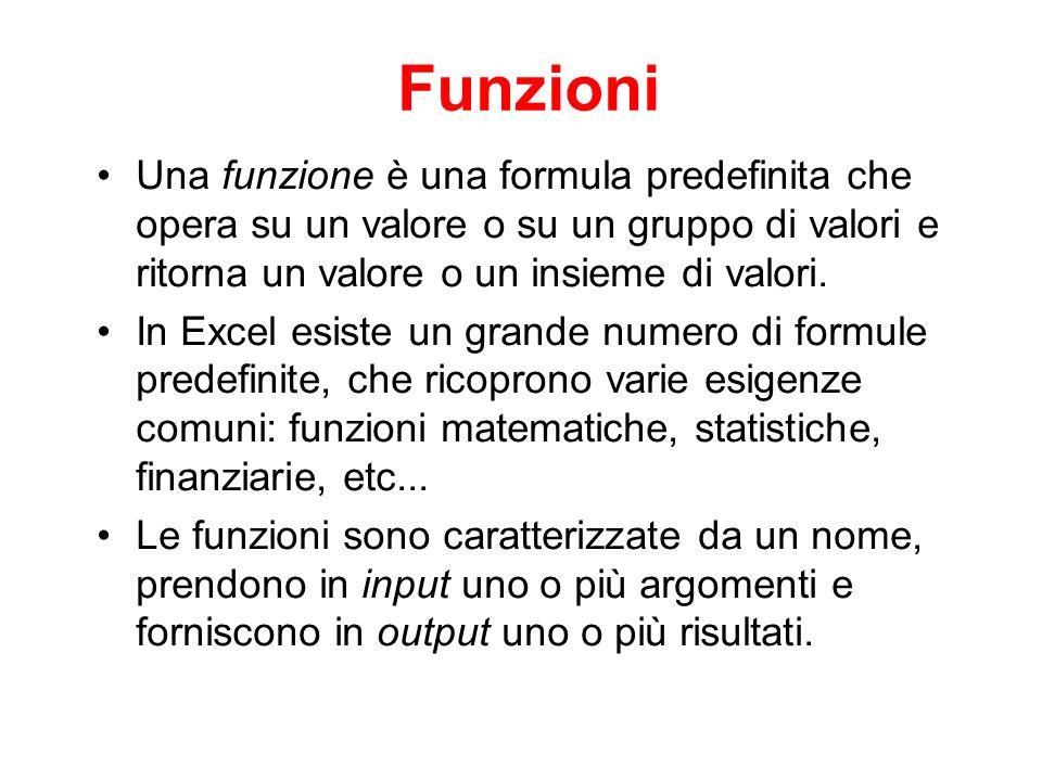 Funzioni Una funzione è una formula predefinita che opera su un valore o su un gruppo di valori e ritorna un valore o un insieme di valori. In Excel e