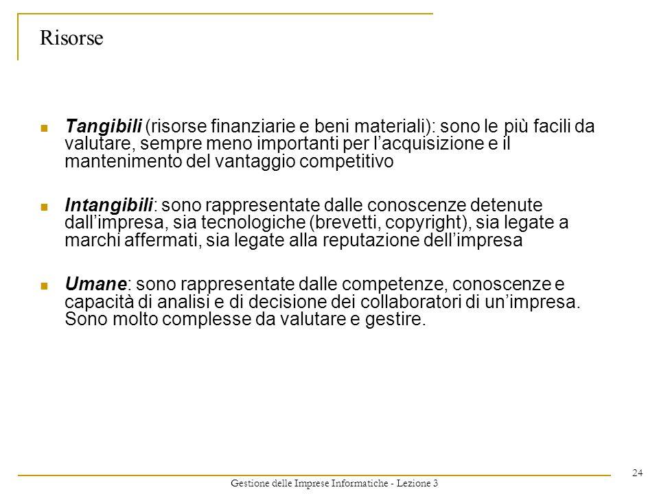 Gestione delle Imprese Informatiche - Lezione 3 24 Risorse Tangibili (risorse finanziarie e beni materiali): sono le più facili da valutare, sempre me
