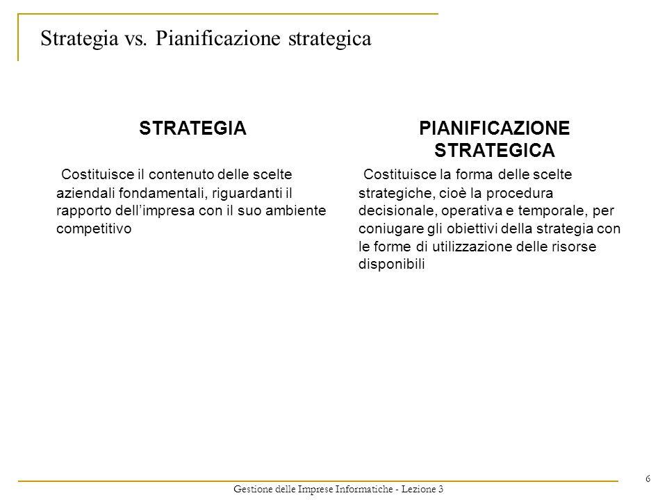 Gestione delle Imprese Informatiche - Lezione 3 6 Strategia vs. Pianificazione strategica STRATEGIA Costituisce il contenuto delle scelte aziendali fo
