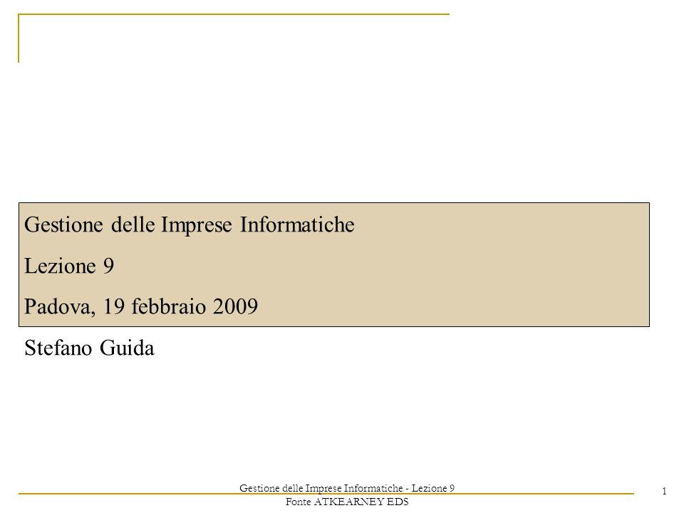 Gestione delle Imprese Informatiche - Lezione 9 Fonte ATKEARNEY EDS 1 Gestione delle Imprese Informatiche Lezione 9 Padova, 19 febbraio 2009 Stefano G