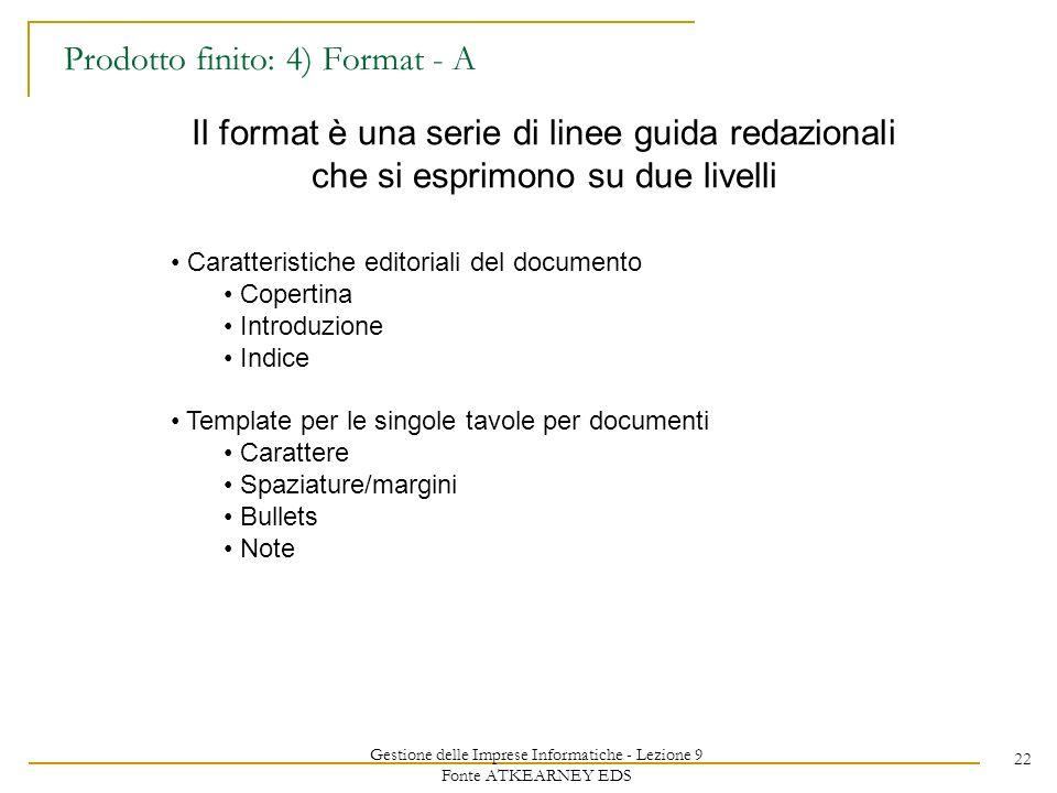 Gestione delle Imprese Informatiche - Lezione 9 Fonte ATKEARNEY EDS 22 Prodotto finito: 4) Format - A Il format è una serie di linee guida redazionali