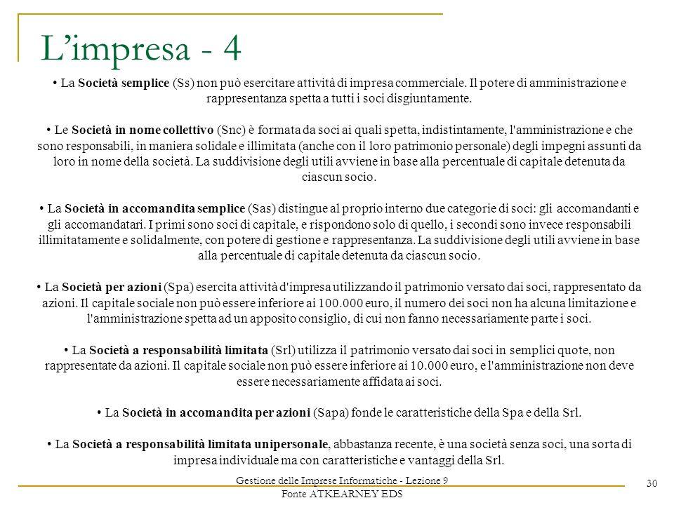 Gestione delle Imprese Informatiche - Lezione 9 Fonte ATKEARNEY EDS 30 Limpresa - 4 La Società semplice (Ss) non può esercitare attività di impresa commerciale.