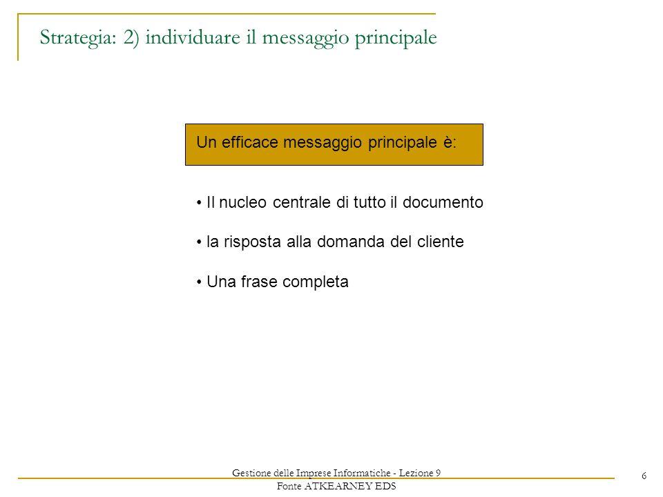 Gestione delle Imprese Informatiche - Lezione 9 Fonte ATKEARNEY EDS 6 Strategia: 2) individuare il messaggio principale Un efficace messaggio principale è: Il nucleo centrale di tutto il documento la risposta alla domanda del cliente Una frase completa