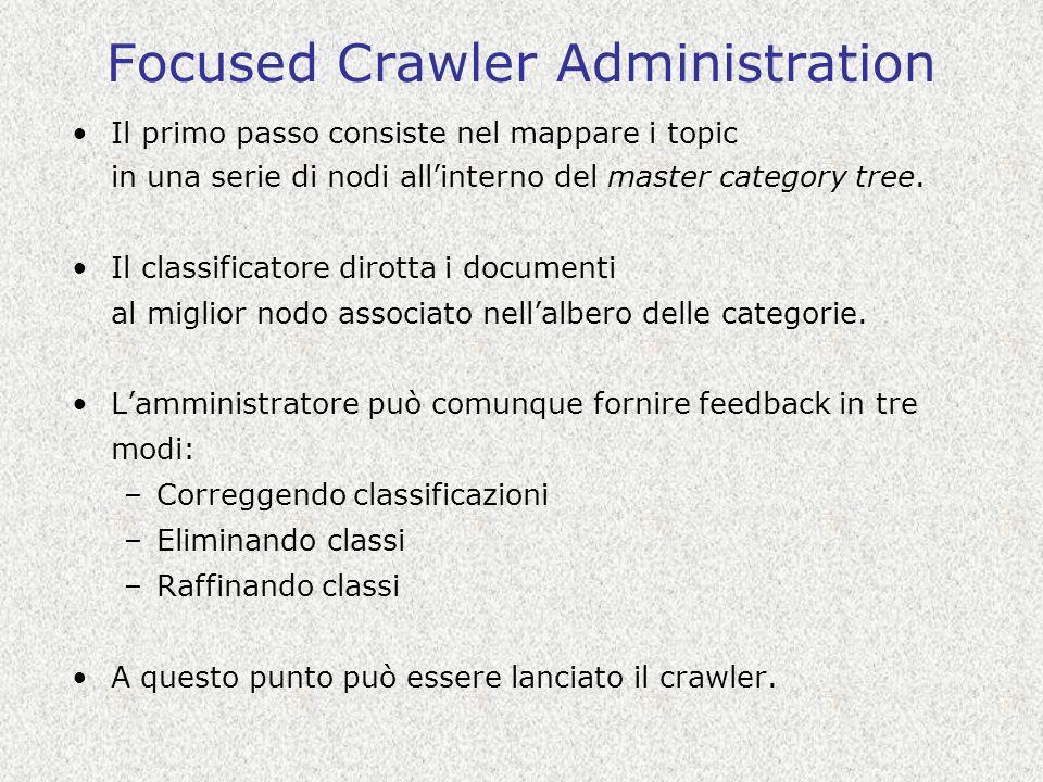 Focused Crawler Administration Il primo passo consiste nel mappare i topic in una serie di nodi allinterno del master category tree.
