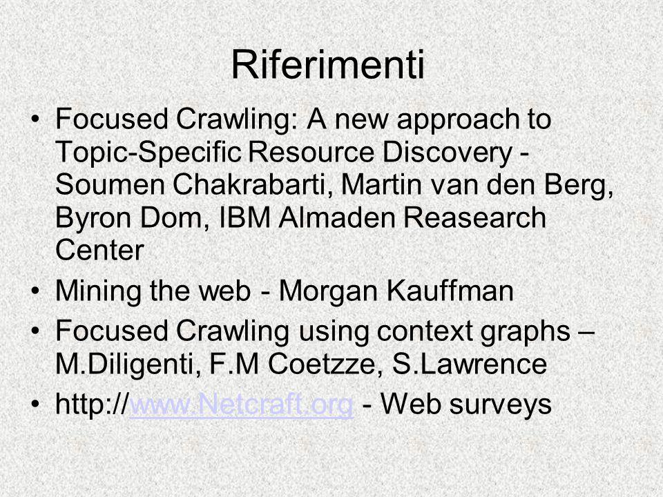 Il focused crawler Il focused crawler è un gestionale dellinformazione ipertestuale.