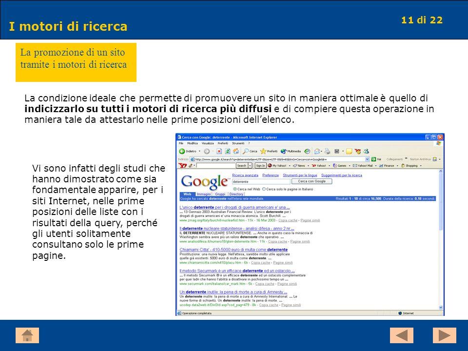 11 di 22 I motori di ricerca La promozione di un sito tramite i motori di ricerca Vi sono infatti degli studi che hanno dimostrato come sia fondamenta