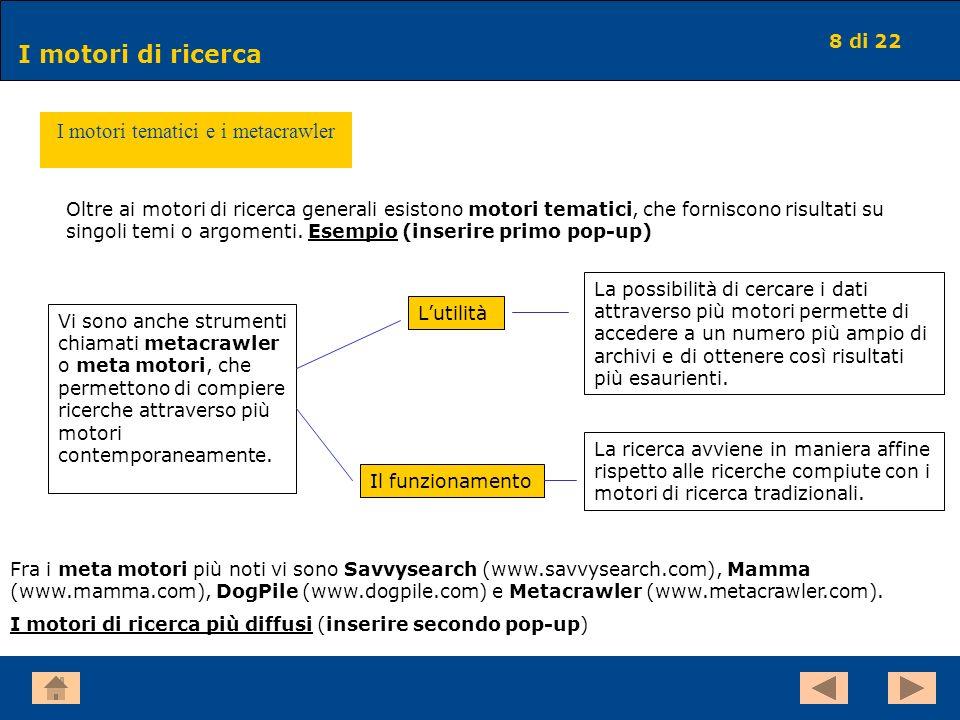 8 di 22 I motori di ricerca I motori tematici e i metacrawler Oltre ai motori di ricerca generali esistono motori tematici, che forniscono risultati s