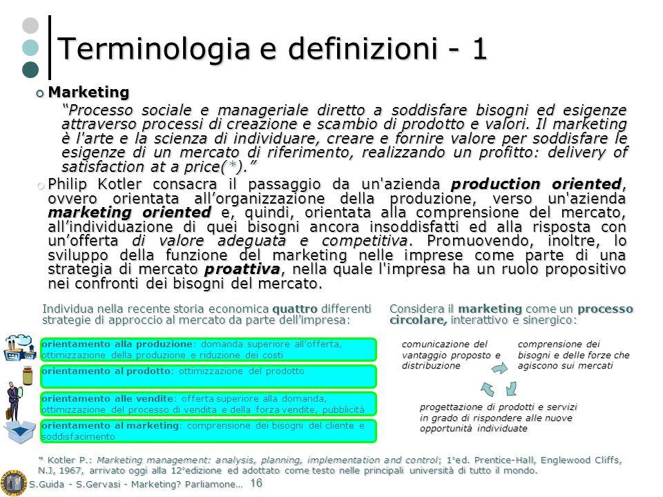 S.Guida - S.Gervasi - Marketing? Parliamone… 16 Terminologia e definizioni - 1 Marketing Marketing Processo sociale e manageriale diretto a soddisfare