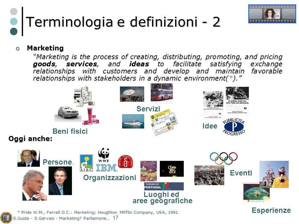 S.Guida - S.Gervasi - Marketing? Parliamone… 17 Terminologia e definizioni - 2 Marketing Marketing Marketing is the process of creating, distributing,