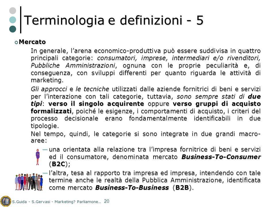 S.Guida - S.Gervasi - Marketing? Parliamone… 20 Terminologia e definizioni - 5 Mercato Mercato In generale, larena economico-produttiva può essere sud