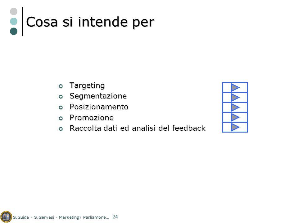S.Guida - S.Gervasi - Marketing? Parliamone… 24 Cosa si intende per Targeting Targeting Segmentazione Segmentazione Posizionamento Posizionamento Prom