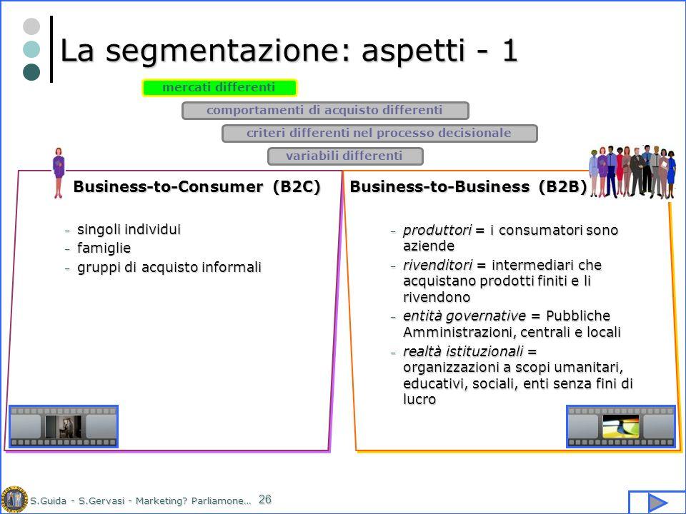 S.Guida - S.Gervasi - Marketing? Parliamone… 26 La segmentazione: aspetti - 1 mercati differenti comportamenti di acquisto differenti criteri differen