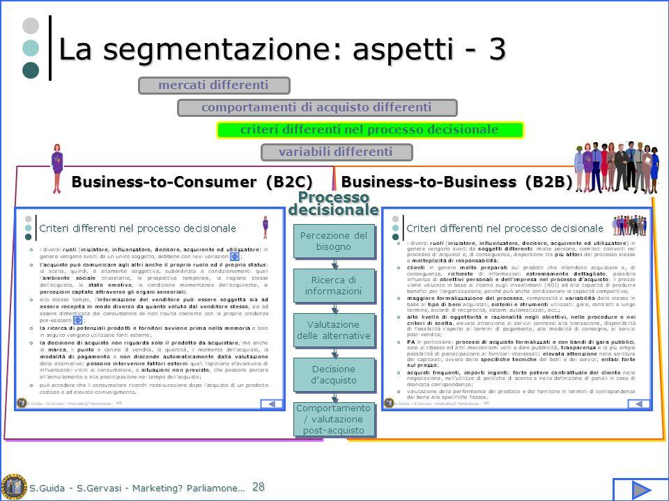 S.Guida - S.Gervasi - Marketing? Parliamone… 28 La segmentazione: aspetti - 3 criteri differenti nel processo decisionale comportamenti di acquisto di
