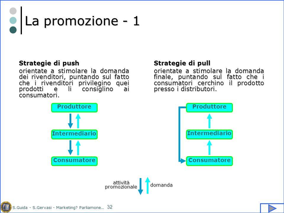 S.Guida - S.Gervasi - Marketing? Parliamone… 32 La promozione - 1 Strategie di pull orientate a stimolare la domanda finale, puntando sul fatto che i