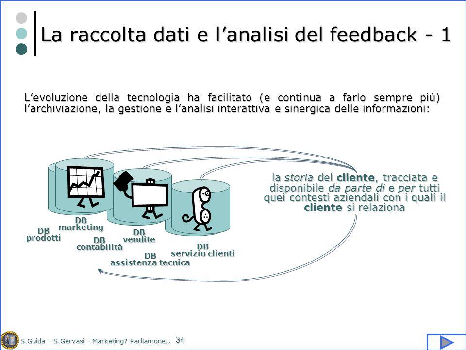 S.Guida - S.Gervasi - Marketing? Parliamone… 34 La raccolta dati e lanalisi del feedback - 1 Levoluzione della tecnologia ha facilitato (e continua a
