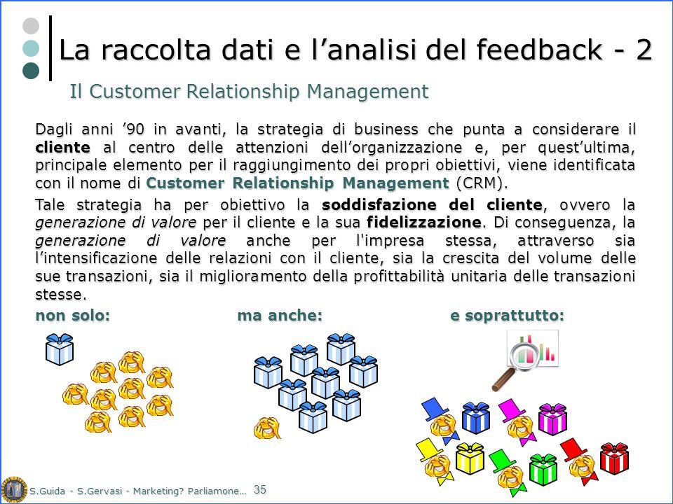 S.Guida - S.Gervasi - Marketing? Parliamone… 35 La raccolta dati e lanalisi del feedback - 2 Dagli anni 90 in avanti, la strategia di business che pun