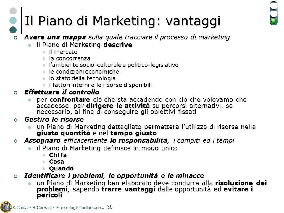 S.Guida - S.Gervasi - Marketing? Parliamone… 36 Il Piano di Marketing: vantaggi Avere una mappa sulla quale tracciare il processo di marketing Avere u