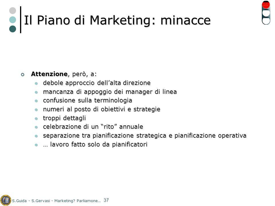 S.Guida - S.Gervasi - Marketing? Parliamone… 37 Il Piano di Marketing: minacce Attenzione, però, a: Attenzione, però, a: debole approccio dellalta dir