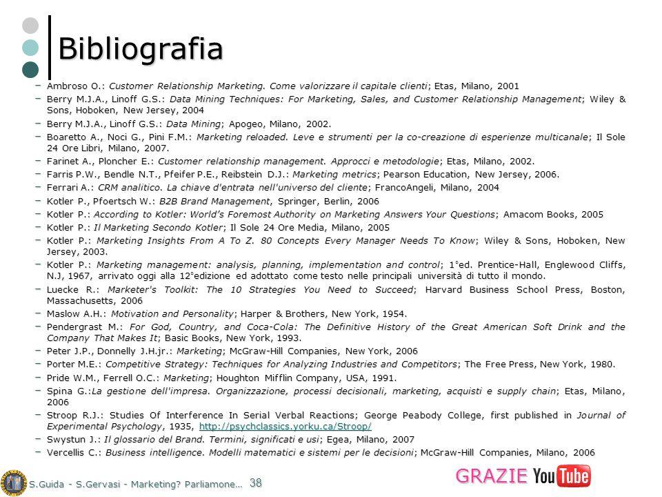 S.Guida - S.Gervasi - Marketing? Parliamone… 38 Bibliografia – Ambroso O.: Customer Relationship Marketing. Come valorizzare il capitale clienti; Etas