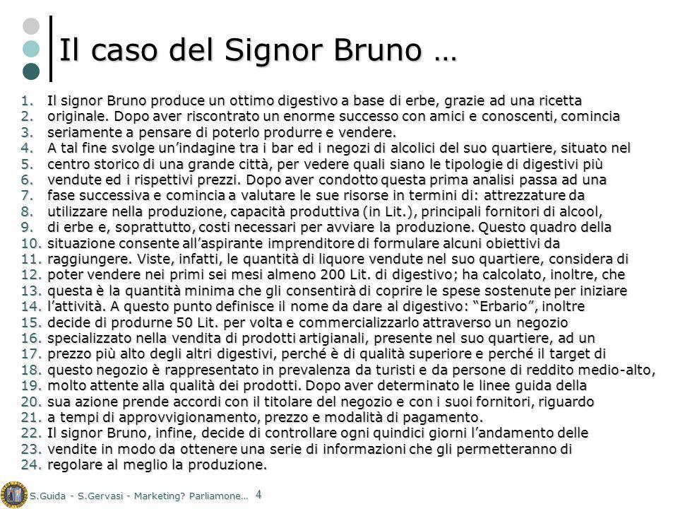 S.Guida - S.Gervasi - Marketing? Parliamone… 4 Il caso del Signor Bruno … 1.Il signor Bruno produce un ottimo digestivo a base di erbe, grazie ad una