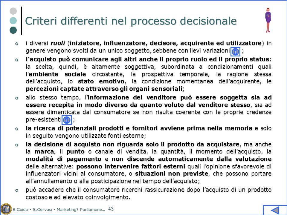S.Guida - S.Gervasi - Marketing? Parliamone… 43 Criteri differenti nel processo decisionale i diversi ruoli (iniziatore, influenzatore, decisore, acqu