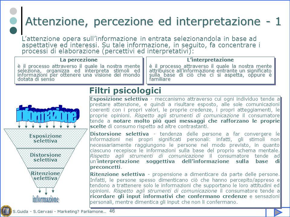 S.Guida - S.Gervasi - Marketing? Parliamone… 46 Attenzione, percezione ed interpretazione - 1 Lattenzione opera sullinformazione in entrata selezionan