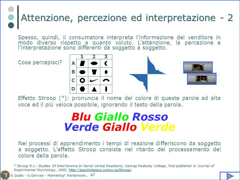 S.Guida - S.Gervasi - Marketing? Parliamone… 47 Attenzione, percezione ed interpretazione - 2 Spesso, quindi, il consumatore interpreta linformazione