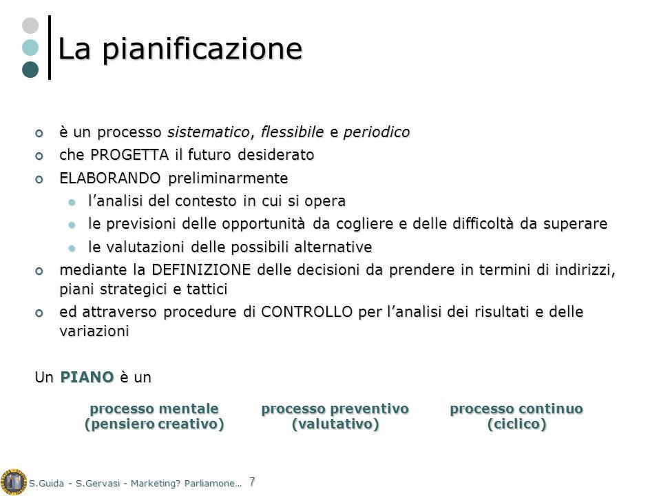 S.Guida - S.Gervasi - Marketing? Parliamone… 7 La pianificazione è un processo sistematico, flessibile e periodico è un processo sistematico, flessibi