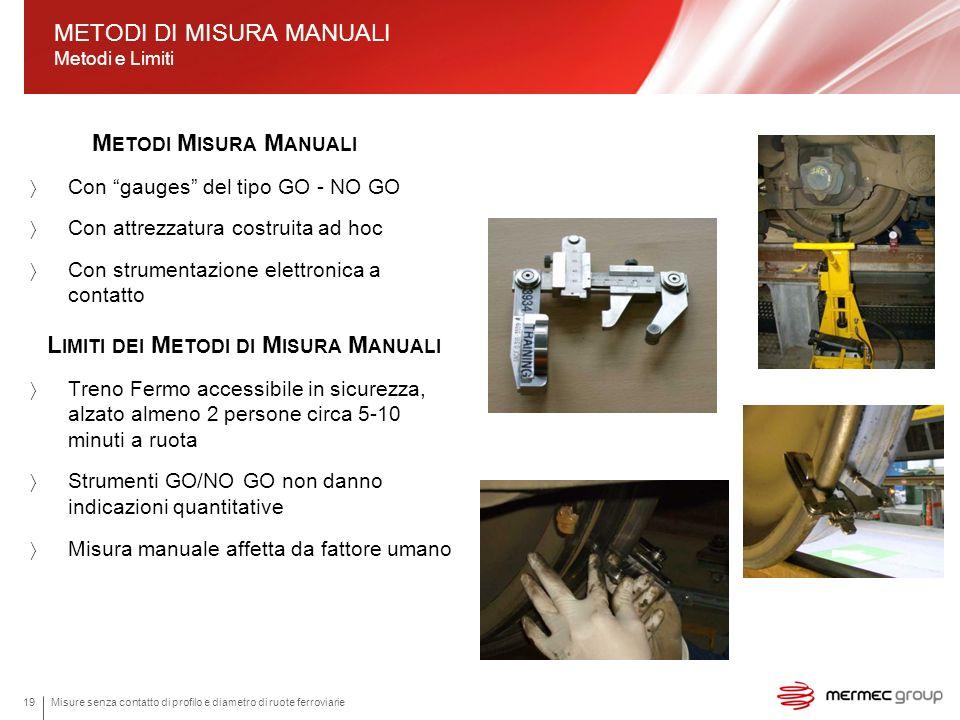 Misure senza contatto di profilo e diametro di ruote ferroviarie19 M ETODI M ISURA M ANUALI Con gauges del tipo GO - NO GO Con attrezzatura costruita