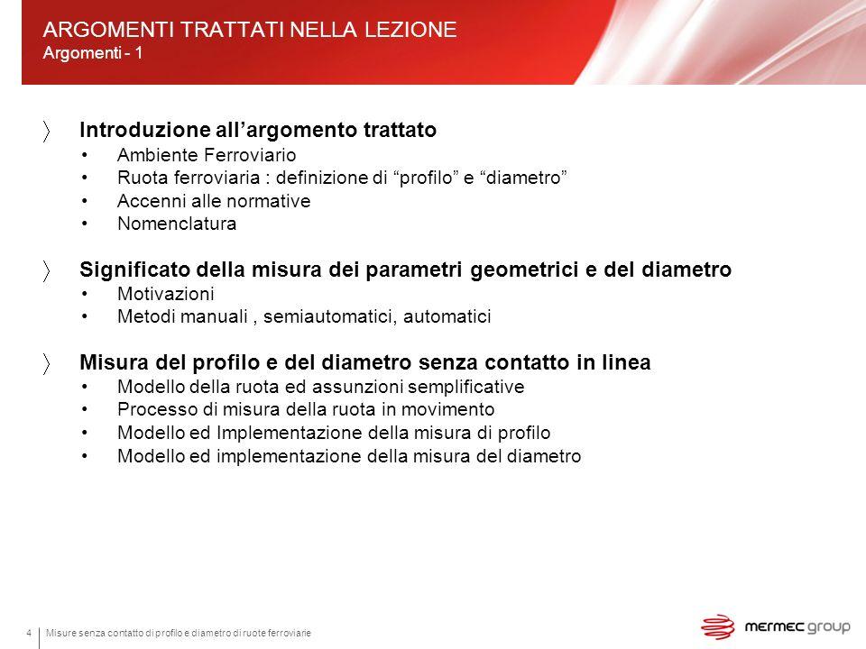 4 Introduzione allargomento trattato Ambiente Ferroviario Ruota ferroviaria : definizione di profilo e diametro Accenni alle normative Nomenclatura Si