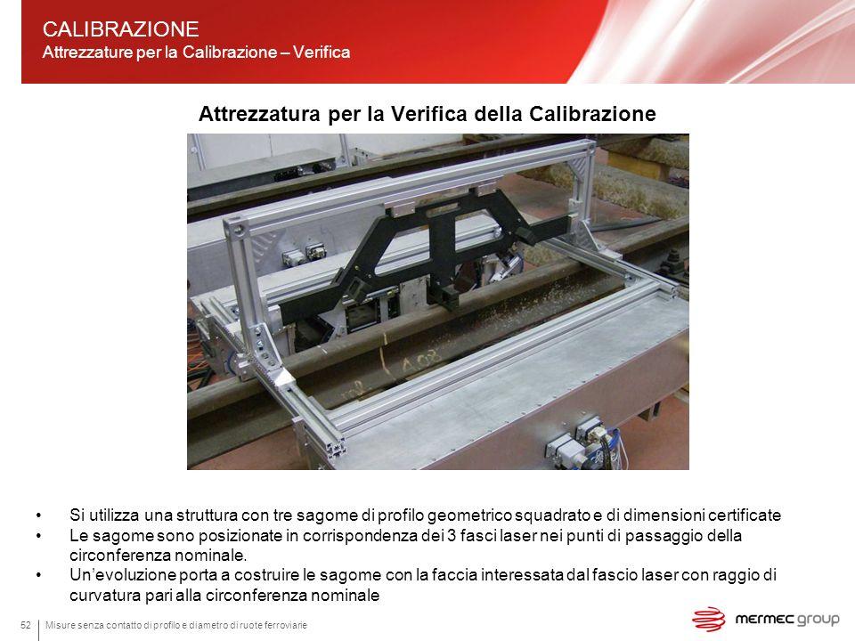 Misure senza contatto di profilo e diametro di ruote ferroviarie52 Attrezzatura per la Verifica della Calibrazione CALIBRAZIONE Attrezzature per la Ca