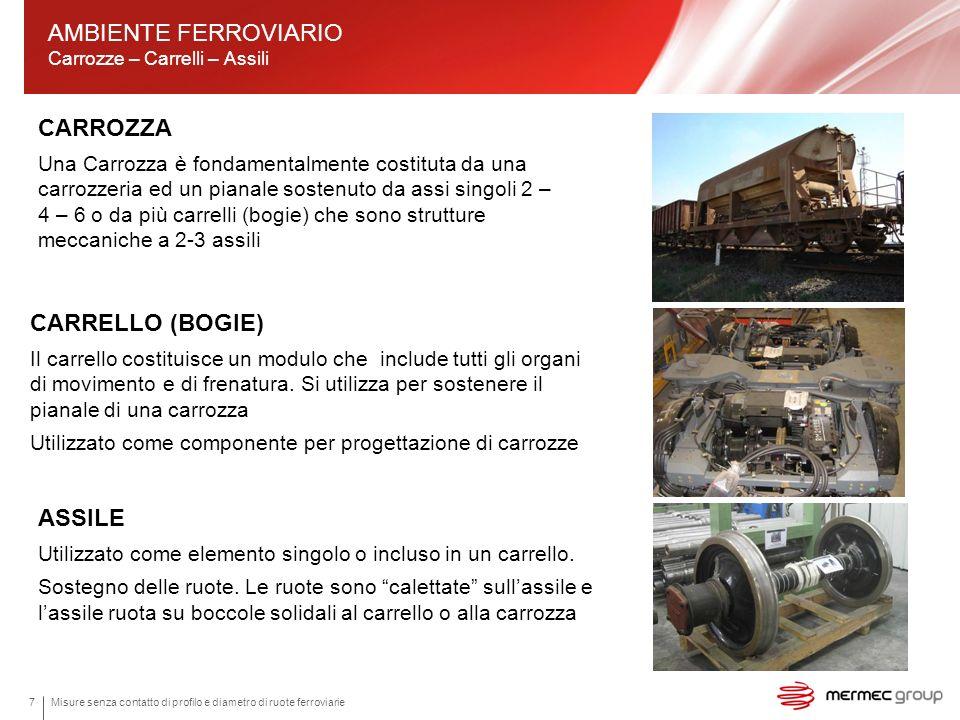 Misure senza contatto di profilo e diametro di ruote ferroviarie7 CARROZZA Una Carrozza è fondamentalmente costituta da una carrozzeria ed un pianale