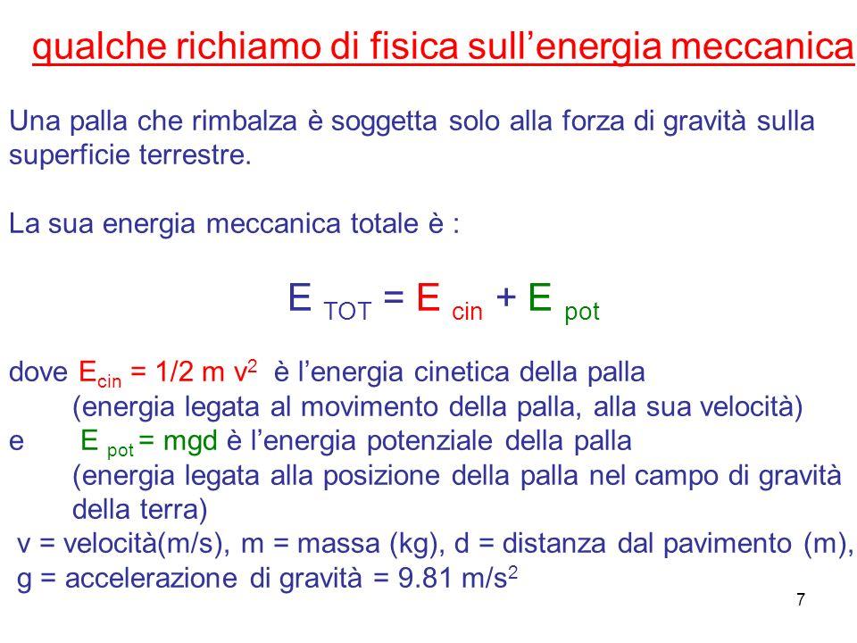 7 qualche richiamo di fisica sullenergia meccanica Una palla che rimbalza è soggetta solo alla forza di gravità sulla superficie terrestre. La sua ene
