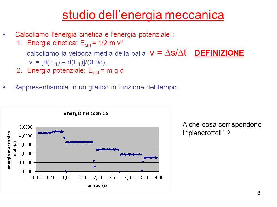 8 studio dellenergia meccanica Calcoliamo lenergia cinetica e lenergia potenziale : 1.Energia cinetica: E cin = 1/2 m v 2 calcoliamo la velocità media