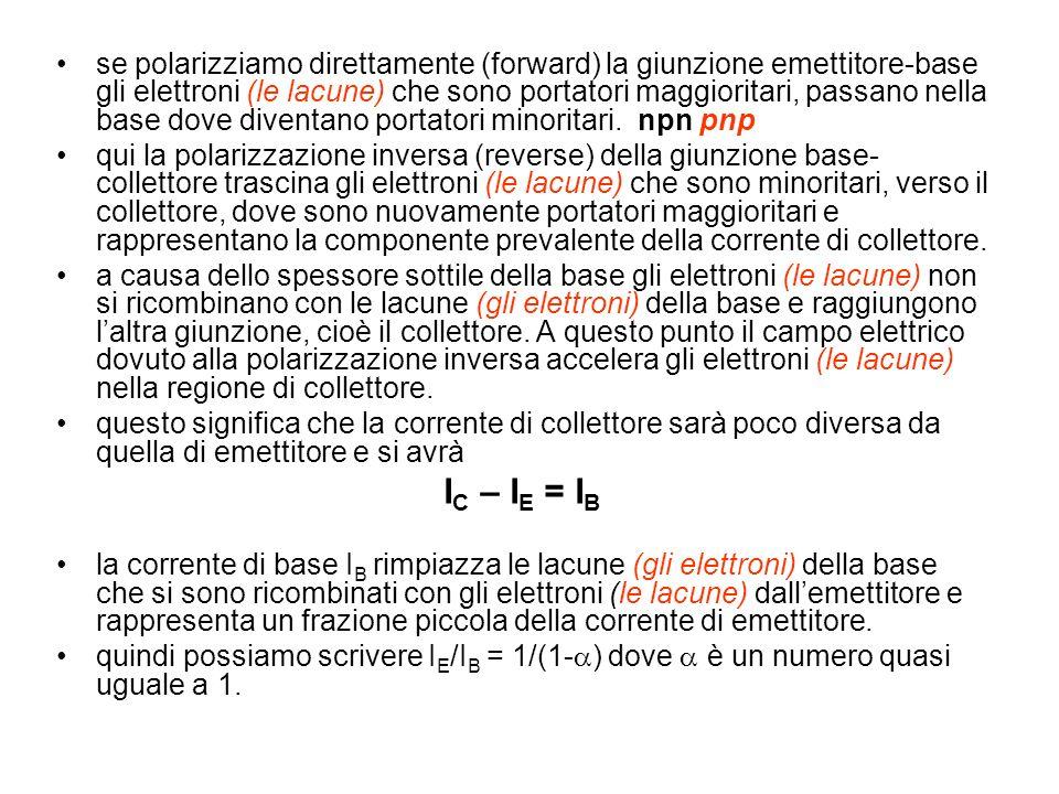 se polarizziamo direttamente (forward) la giunzione emettitore-base gli elettroni (le lacune) che sono portatori maggioritari, passano nella base dove