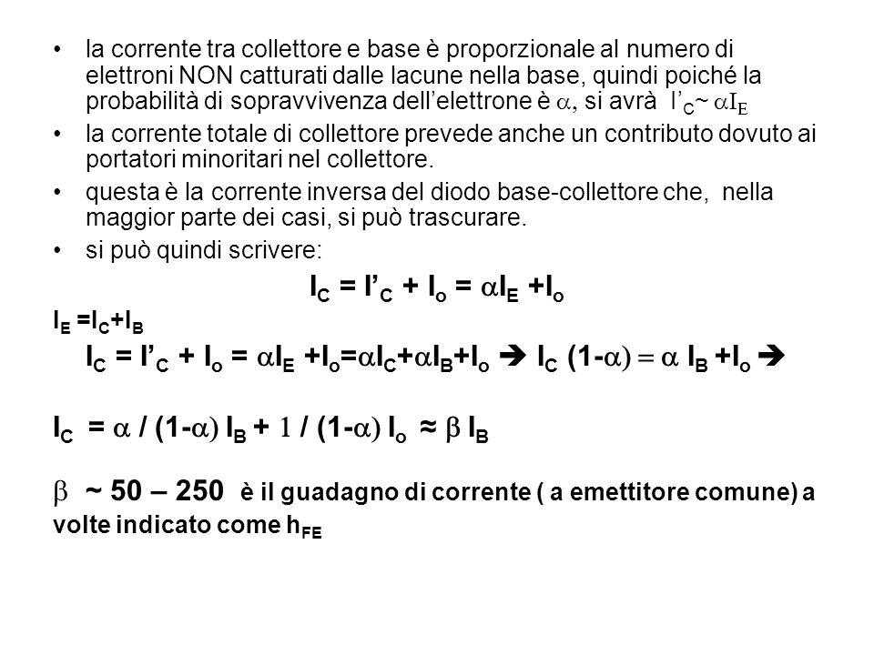 la corrente tra collettore e base è proporzionale al numero di elettroni NON catturati dalle lacune nella base, quindi poiché la probabilità di soprav