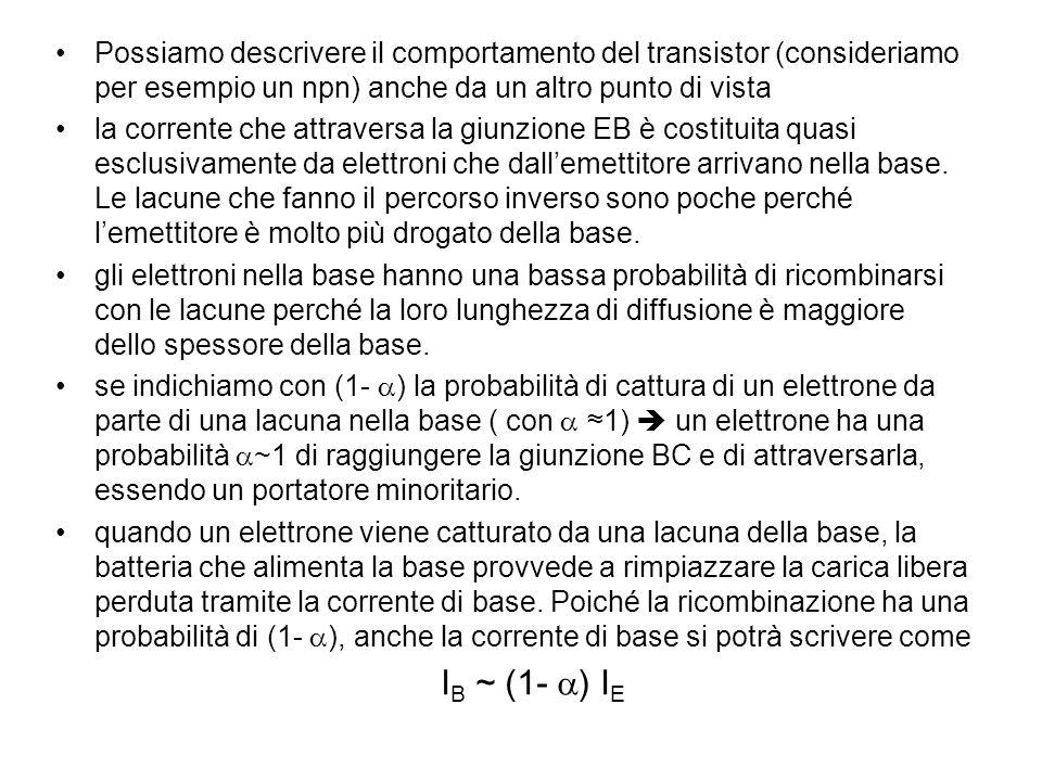 Possiamo descrivere il comportamento del transistor (consideriamo per esempio un npn) anche da un altro punto di vista la corrente che attraversa la giunzione EB è costituita quasi esclusivamente da elettroni che dallemettitore arrivano nella base.