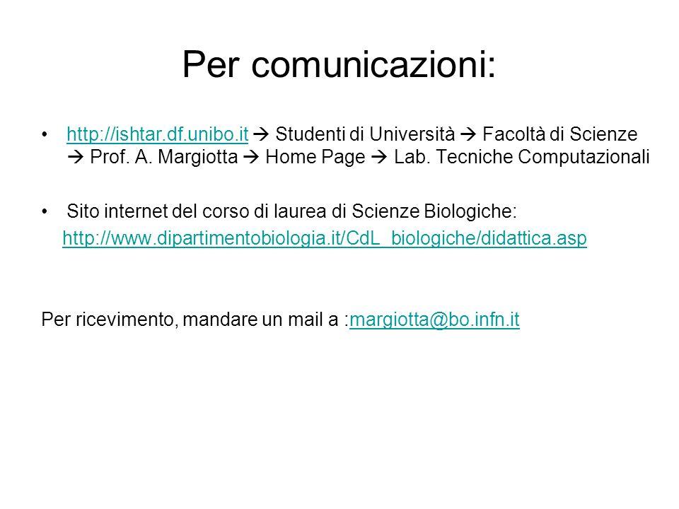 Per comunicazioni: http://ishtar.df.unibo.it Studenti di Università Facoltà di Scienze Prof.