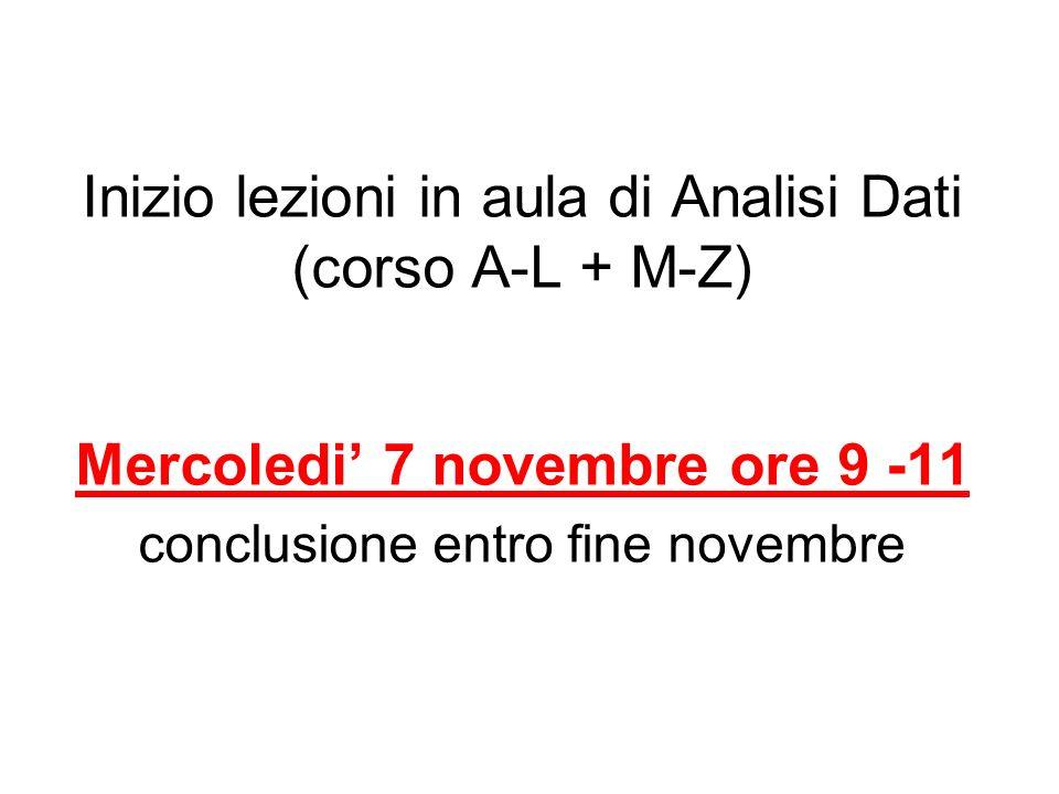 Inizio lezioni in aula di Analisi Dati (corso A-L + M-Z) Mercoledi 7 novembre ore 9 -11 conclusione entro fine novembre