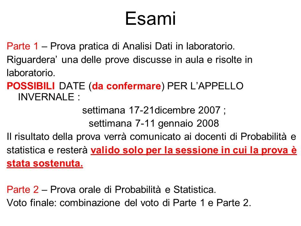 Esami Parte 1 – Prova pratica di Analisi Dati in laboratorio.