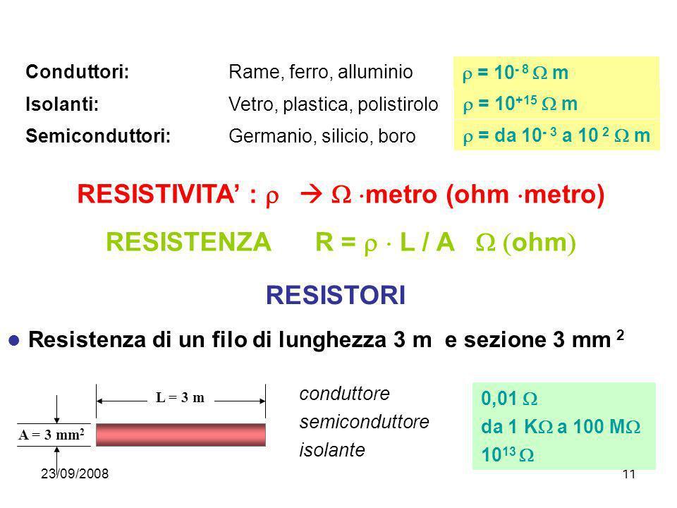 23/09/200811 = 10 +15 m = 10 - 8 m = da 10 - 3 a 10 2 m Isolanti:Vetro, plastica, polistirolo Semiconduttori: Germanio, silicio, boro Conduttori: Rame