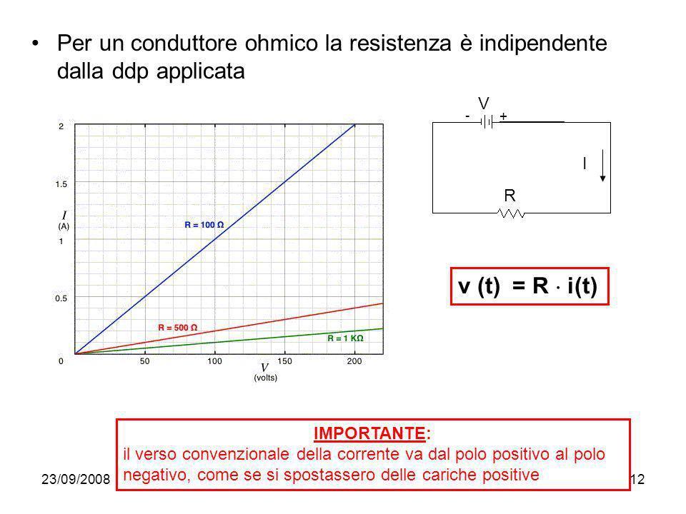 23/09/200812 Per un conduttore ohmico la resistenza è indipendente dalla ddp applicata R V I + - v (t) = R i(t) IMPORTANTE: il verso convenzionale del