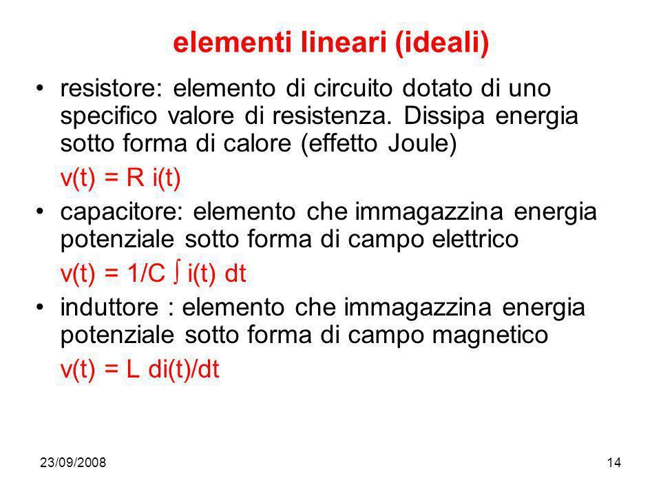 23/09/200814 elementi lineari (ideali) resistore: elemento di circuito dotato di uno specifico valore di resistenza. Dissipa energia sotto forma di ca