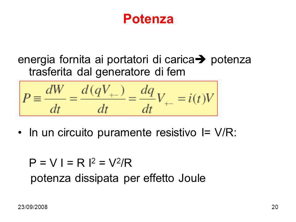 23/09/200820 Potenza energia fornita ai portatori di carica potenza trasferita dal generatore di fem In un circuito puramente resistivo I= V/R: P = V