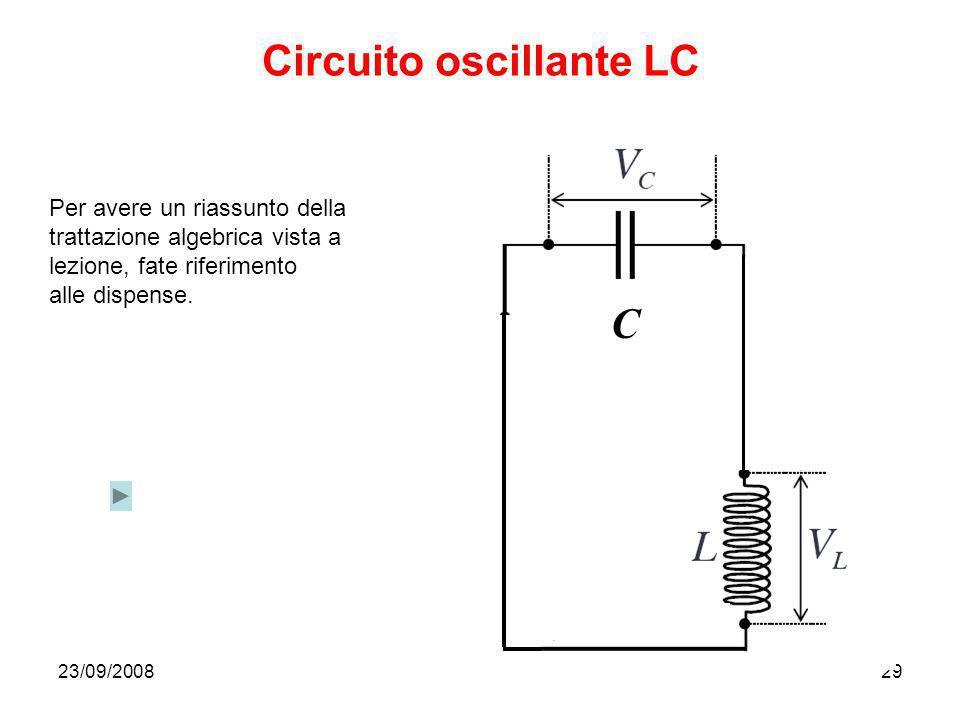 23/09/200829 Circuito oscillante LC C Per avere un riassunto della trattazione algebrica vista a lezione, fate riferimento alle dispense.