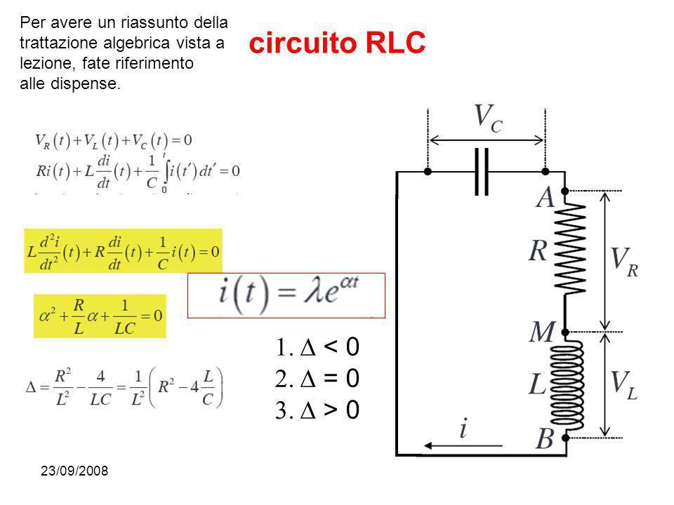 23/09/200830 circuito RLC Per avere un riassunto della trattazione algebrica vista a lezione, fate riferimento alle dispense. < 0 = 0 > 0