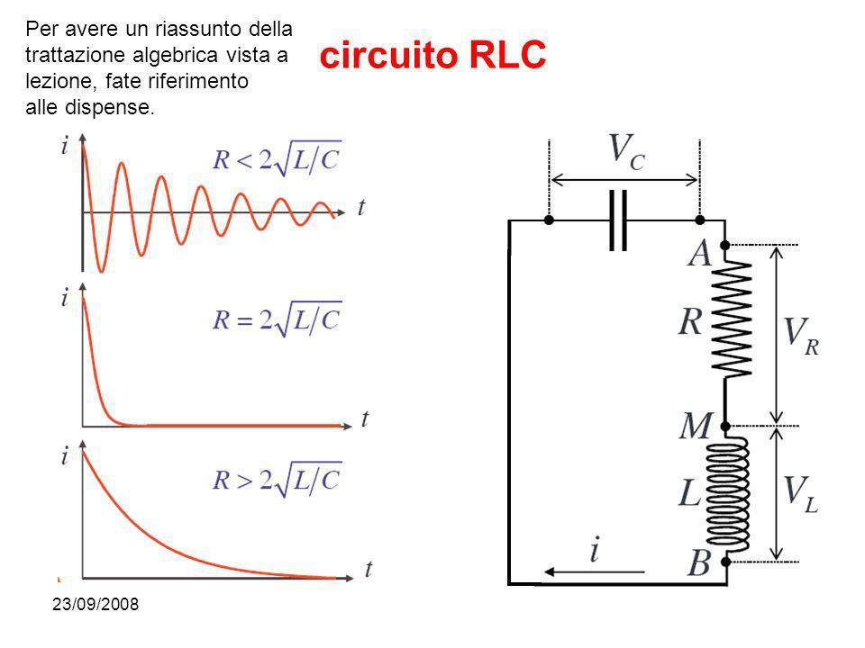 23/09/200831 circuito RLC Per avere un riassunto della trattazione algebrica vista a lezione, fate riferimento alle dispense.