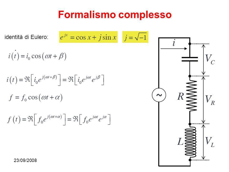 23/09/200832 Formalismo complesso identità di Eulero:
