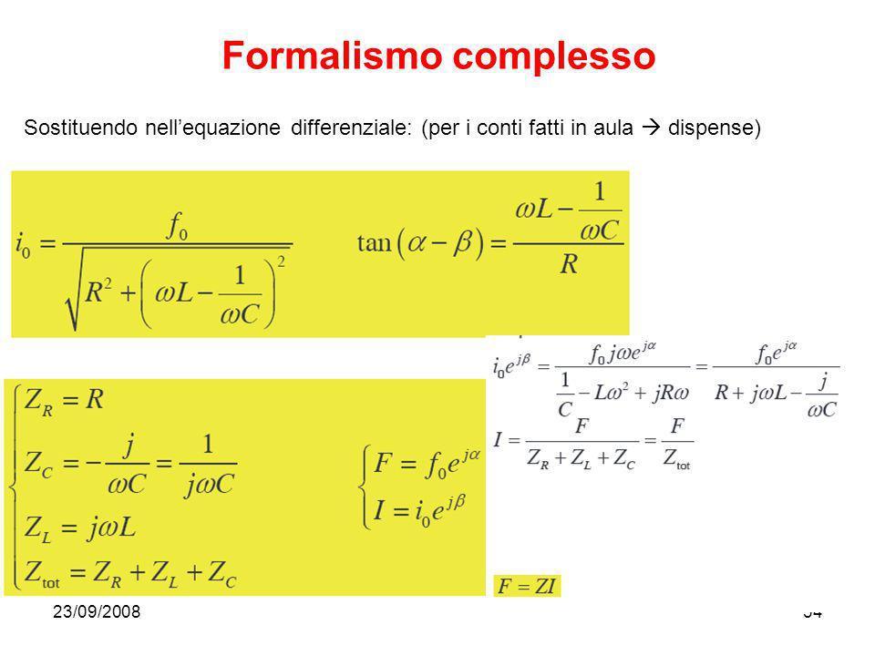 23/09/200834 Formalismo complesso Sostituendo nellequazione differenziale: (per i conti fatti in aula dispense)