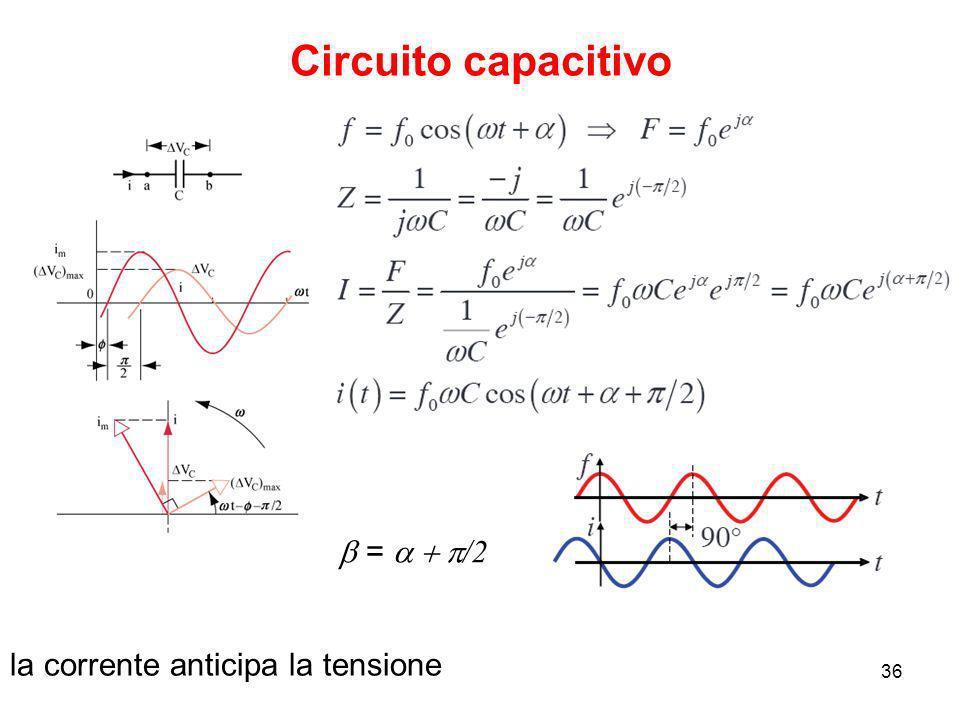 23/09/200836 Circuito capacitivo la corrente anticipa la tensione = /2